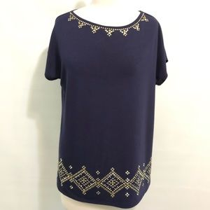 Ruby Red Navy Shirt gold embellished accents Sz M